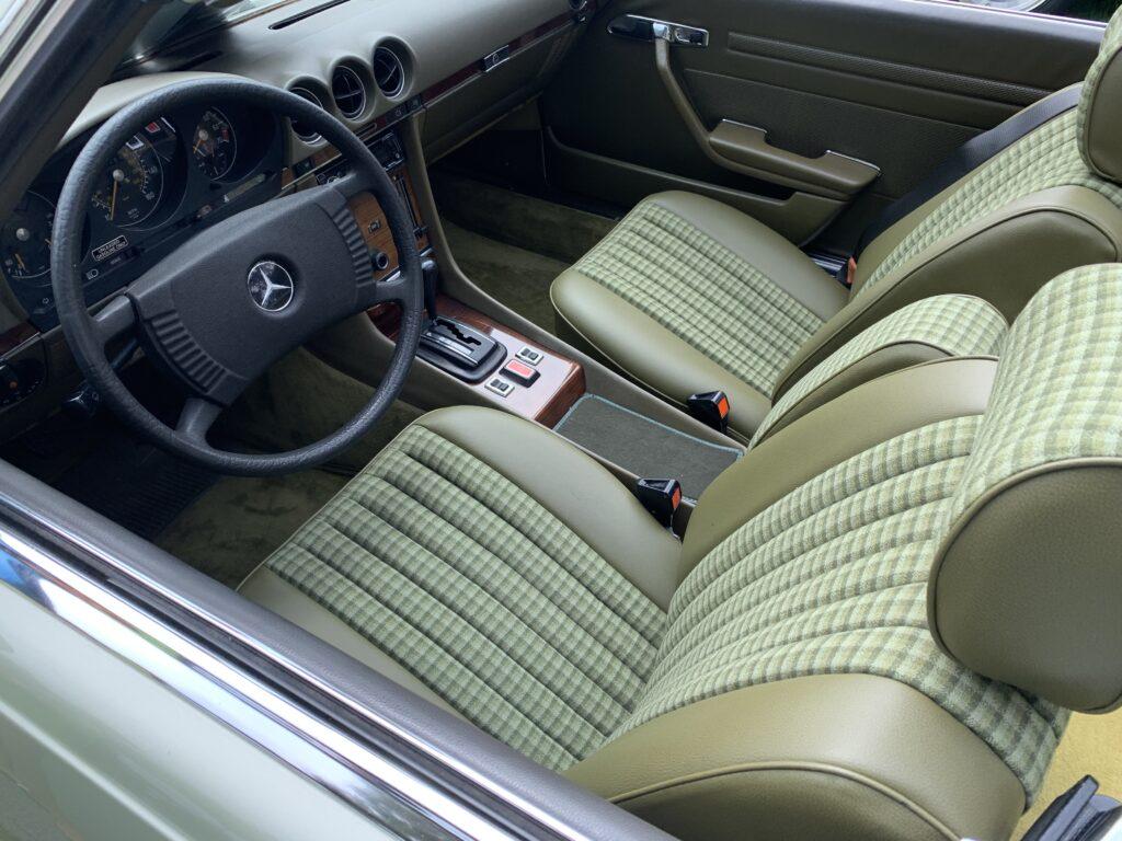Mercedes-Benz R107 in green interior